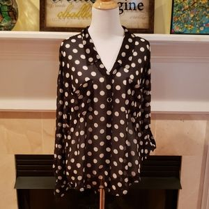 Free People Black and White Polka Dot Button Down